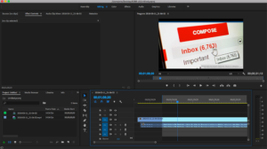 Screen shot of editing video in Adobe Premiere Pro